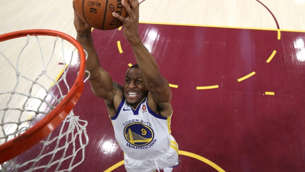Andre Iguodala dunks during the 2018 NBA Finals in Cleveland, Ohio on June 8, 2018.