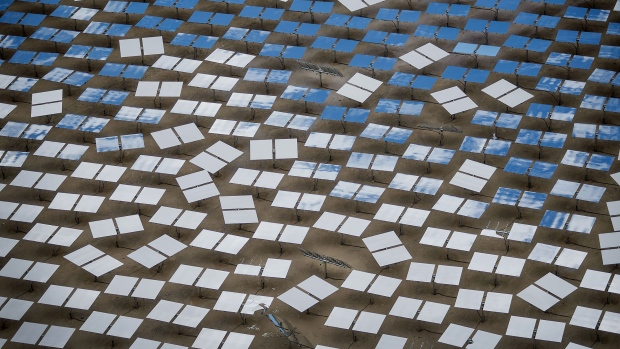 Solar panels stand at the Ivanpah Solar Electric Generating System in the Mojave Desert near Primm, Nevada, U.S