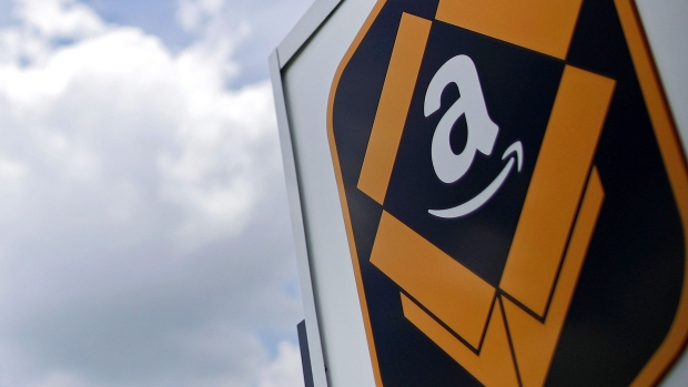 The Amazon.com logo is displayed outside the company's fulfillment center in Kenosha, Wisconsin, U.S.