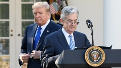 Jerome Powell, governor of the U.S. Federal Reserve and President Donald Trump's nominee as chairman of the Federal Reserve, right, pauses while speaking while Trump listens during a nomination announcement in the Rose Garden of the White House in Washington, D.C., Nov. 2, 2017
