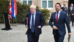 Boris Johnson, U.K. prime minister, left, departs following a Brexit meeting with Xavier Bettel, Lux