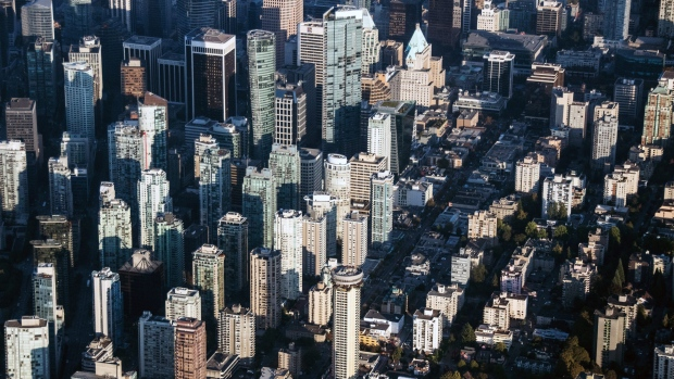 Commercial and residential buildings stand in this aerial photograph taken above Vancouver, B.C.