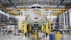 An Airbus SE A321 plane fuselage sits on the production floor at the company's final assembly line facility in Mobile, Alabama, U.S., on Wednesday, July 19, 2017. The U.S. Census Bureau is scheduled to release durable goods figures on August 3.