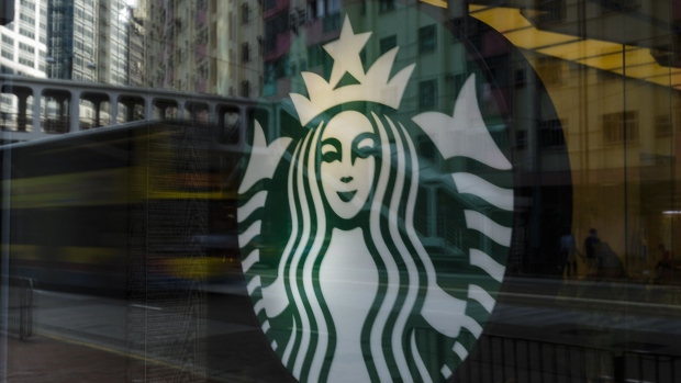 view of Starbucks Coffee an US company in Hong Kong on August 13 2018 in Hong Kong, Hong Kong.