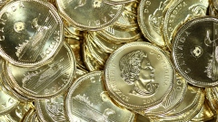 Canadian one dollar coins, also known as Loonies, sit in a pile at the Royal Canadian Mint Ltd. manufacturing facility in Winnipeg, Manitoba, Canada, on Monday, March 11, 2019. The Canadian dollar was steady against the greenback amid rising oil prices and mixed versus G-10 currencies as traders awaited domestic home price data Wednesday and a speech by the Bank of Canada's Carolyn Wilkins on Thursday.