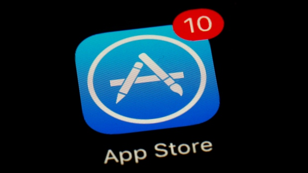 This March 19, 2018, file photo shows Apple's App Store app in Baltimore.