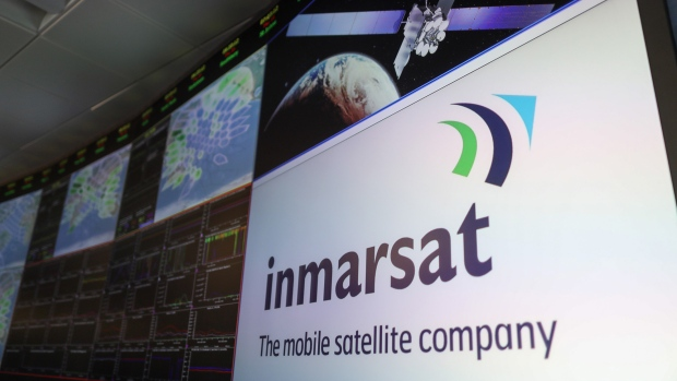 The Inmarsat Plc company logo sits on display on a giant screen in the Network Operations Centre (NOC) at the company's headquarters in London.
