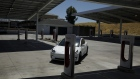 A Tesla Inc. Model 3 electric vehicles enters the Tesla Supercharger station in Kettleman City, California, U.S., on Wednesday, July 31, 2019.