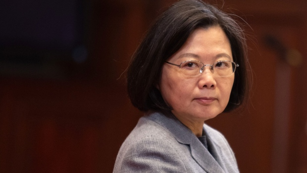 Tsai Ing-wen, Taiwan's president, looks on during a news conference at the Presidential Palace in Taipei, Taiwan, on Saturday, Jan. 5, 2019.