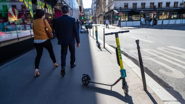 Wind scooters await hire in Paris. Photographer: Anita Pouchard Serra/Bloomberg