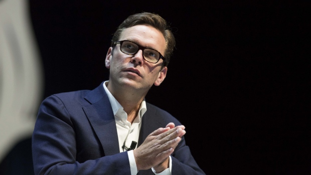 James Murdoch, co-chief operating officer of 21st Century Fox Inc., gestures during a panel session at the Cannes Lions International Festival Of Creativity in Cannes, France, on Thursday, June 25, 2015.
