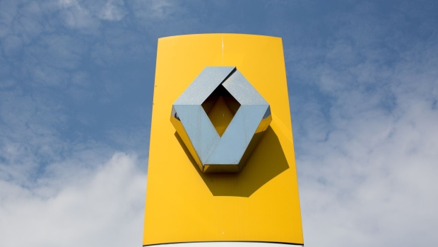 A logo sits on display outside the Renault SA automobile assembly plant in Moscow, Russia, on Tuesday, May 28, 2019. A prospective deal proposed by Fiat Chrysler Automobiles NV to merge with Renault could create the world's third-biggest carmaker.