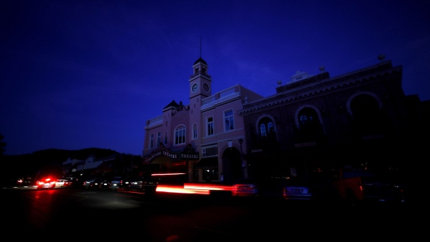 The Sebastiani Theatre and much of downtown remained dark on October 10, 2019 in Sonoma, California.