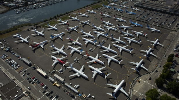 RENTON, WA - AUGUST 13: Boeing 737 MAX airplanes are seen parked on Boeing property along the Duwamish River near Boeing Field on August 13, 2019 in Seattle, Washington