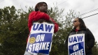 A UAW strike at the GM plant in Romulus, Michigan. Bloomberg/Brittany Greeson