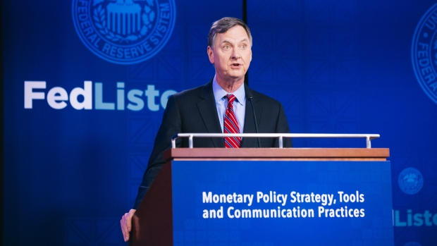 Charles Evans, president of the Federal Reserve Bank of Chicago, speaks during the Monetary Policy S