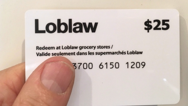 A $25 Loblaw gift card is shown in Oakville, Ont., March 8, 2018. The Canadian Press/Richard Buchan