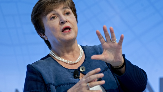 Kristalina Georgieva, managing director of the International Monetary Fund (IMF), speaks at a discussion during the annual meetings of the IMF and World Bank Group in Washington, D.C., U.S., on Wednesday, Oct. 16, 2019. The IMF made a fifth-straight cut to its 2019 global growth forecast, citing a broad deceleration across the world's largest economies as trade tensions undermine the expansion.