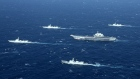 Chinese navy formation, including the aircraft carrier Liaoning (C), during military drills in the South China Sea.