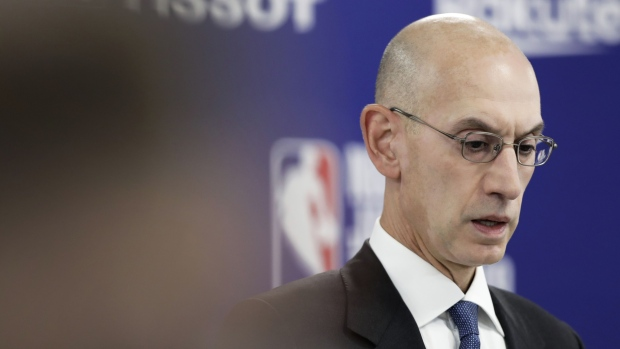 Adam Silver, commissioner of the National Basketball Association (NBA), attends a news conference