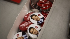 Buttons depicting the face of Prime Minister Justin Trudeau