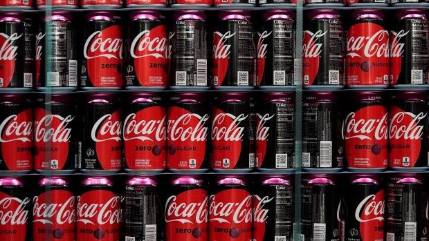 Cans of Coca-Cola Co. brand Zero-Sugar cherry soda sit on display at the Swire Coca-Cola bottling plant in West Valley City, Utah, U.S., on Friday, April 19, 2019. The Coca-Cola Co. is scheduled to release earnings figures on April 23.