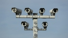 GOTHA, GERMANY - MARCH 16: Surveillance cameras stand at a petrol station on March 16, 2017 near Gotha, Germany. The German government is enacting new legislation to broaden the ability of authorities to conduct video surveillance of public places. (Photo by Sean Gallup/Getty Images)
