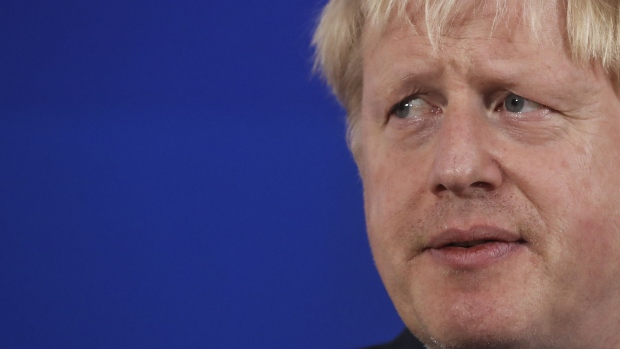 Boris Johnson, U.K. prime minister, speaks during a news conference.