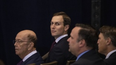 Jared Kushner, senior White House advisor, centre, and Wilbur Ross, U.S. commerce secretary, left