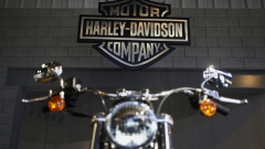 A motorcycle sits inside the tour center at the Harley-Davidson Vehicle and Powertrain Operations factory in Kansas City, Missouri, U.S.
