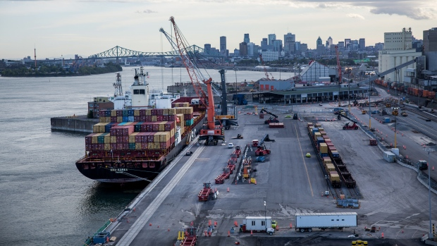 A cargo ships sits docked at the Viau terminal in the Port of Montreal in Montreal, Quebec, Sept. 21