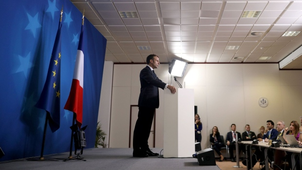 Emmanuel Macron, France's president, speaks during a news conference at a European Union leaders summit in Brussels, Belgium, on Oct. 18, 2019.