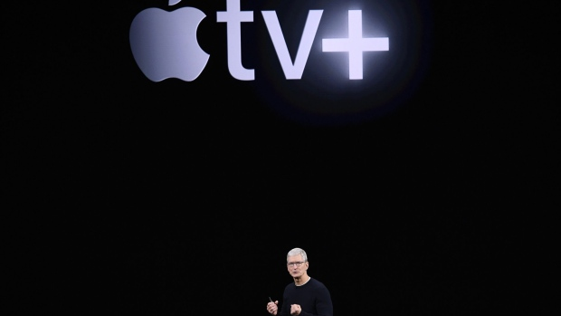 Tim Cook speaks about Apple tv+ during an event.