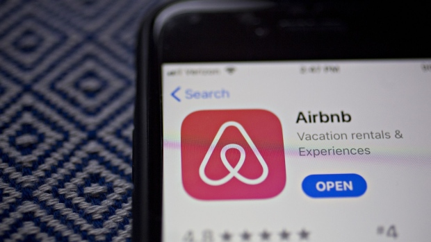 The Airbnb Inc. application is displayed in the App Store on an Apple Inc. iPhone in an arranged photograph taken in Arlington, Virginia, U.S., on Friday, March 8, 2019.