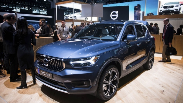The Volvo AB XC40 crossover sports utility vehicle (SUV) is displayed during the 2018 New York International Auto Show (NYIAS) in New York, U.S., on Wednesday, March 28, 2018. The New York International Auto Show, North America's first and largest-attended auto show dating back to 1900, showcases an incredible collection of cutting-edge design and extraordinary innovation.