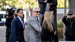 Roger Stone and wife Nydia Stone arrive at federal court in Washington on Nov. 5.
