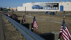 American flags fly in front of the General Motors Co. plant in Lordstown, Ohio, U.S., on Tuesday, March 26, 2019.