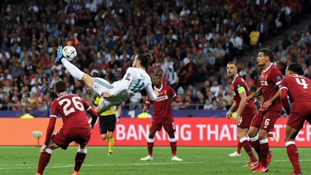 Gareth Bale of Real Madrid CF scores his team's second goal during the UEFA Champions League final between Real Madrid and Liverpool on May 26, 2018 in Kiev, Ukraine.