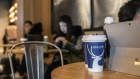 Coffee beverages sit on a table at a Luckin Coffee outlet in Beijing, China, on Tuesday, Jan. 15, 2019. Luckin, the Chinese startup that's banking on selling cappuccinos to on-the-go office workers, is spending millions of dollars a year opening outlets to unseat Starbucks Corp. as the top java seller in the country.