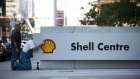 Royal Dutch Shell PLC logo outside Shell Centre in Calgary
