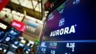 A monitor displays Aurora Cannabis Inc. signage on the floor of the New York Stock Exchange (NYSE) in New York, U.S., on Friday, Nov. 2, 2018. Stocks fell as Apple's poor forecast hit tech-heavy indexes. Treasuries declined after U.S. hiring rebounded more than forecast in October.