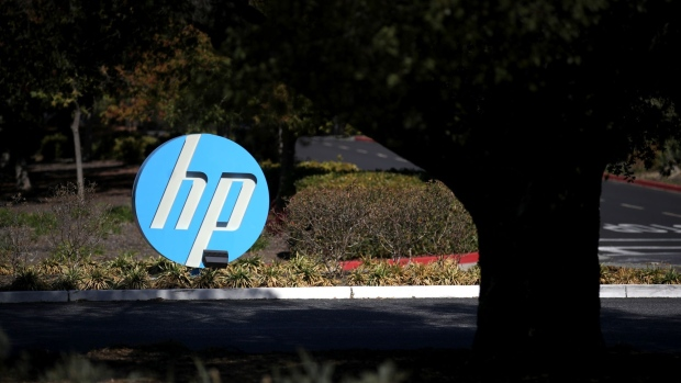 PALO ALTO, CALIFORNIA - OCTOBER 04: The Hewlett Packard (HP) logo is displayed in front of the office complex on October 04, 2019 in Palo Alto, California. HP announced plans to cut 7,000 to 9,000 jobs in an effort to save about $1 billion by the end of fiscal 2022. (Photo by Justin Sullivan/Getty Images)