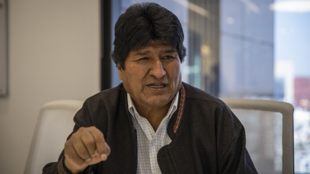 Evo Morales, Bolivia's former president, speaks during an interview in Mexico City, Mexico, on Monday, Nov. 18, 2019. A few weeks ago, Evo Morales, the longstanding president of Bolivia, seemed headed for reelection. Today, he and his top aides are in exile in Mexico while some in his country have taken to the streets again to protest what they say was the military coup that removed him. Photographer Alejandro Cegarra/Bloomberg
