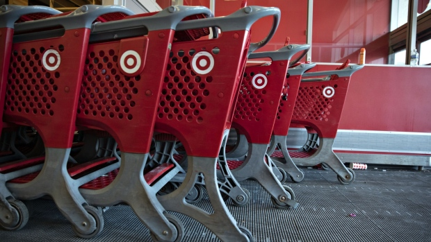 Shopping carts sit in the entrance of a Target Corp. store in Chicago, Illinois. Bloomberg
