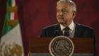 Andres Manuel Lopez Obrador, Mexico's president, speaks during a news conference at the National Palace in Mexico City, Mexico, on Monday, Oct. 21, 2019. For all the backlash Mexican President Lopez Obrador faces after the arrest and subsequent release of the son of the infamous drug lord El Chapo, data show that the country has made small progress on reducing homicide rates.