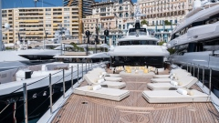 Upholstered sun loungers sit on a prow deck area of luxury superyacht Metis, manufactured by Azimut Benetti SpA, as sits moored between other vessels during the Monaco Yacht Show (MYS) in Port Hercules, Monaco, on Wednesday, Sept. 25, 2019. The MYS features 125 luxury superyachts and runs from Sept. 25 - 28.