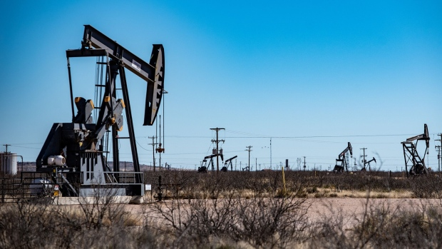 Oil pumpjacks outside Odessa, Texas.