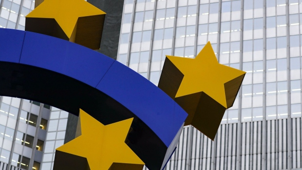 The euro sign sculpture stands outside the former European Central Bank (ECB) headquarters in Frankfurt, Germany, on Monday, Oct. 21, 2019. U.K. Prime Minister Boris Johnson is making a fresh bid to deliver on his promise to take Britain out of the European Union on Oct. 31 amid mounting optimism that he now has the backing to get his deal through Parliament.