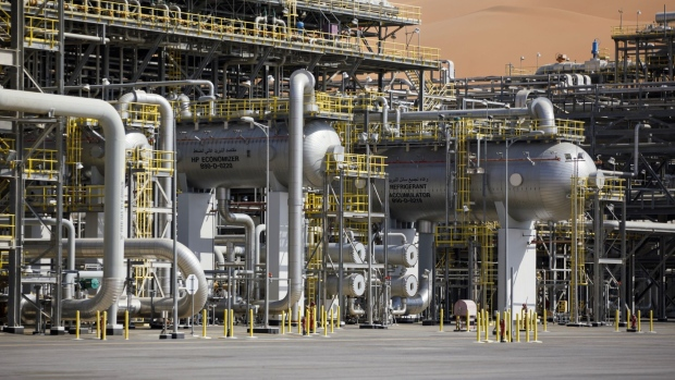 The Natural Gas Liquids (NGL) facility operates at Saudi Aramco's Shaybah oil field in the Rub' Al-Khali desert, also known as the 'Empty Quarter,' in Shaybah, Saudi Arabia, on Tuesday, Oct. 2, 2018. Saudi Arabia is seeking to transform its crude-dependent economy by developing new industries, and is pushing into petrochemicals as a way to earn more from its energy deposits.