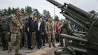 Volodymyr Zelenskiy, Ukraine's president, inspects heavy artillery during an Interior Ministry military drill in Stare, Ukraine, on Monday, Sept. 30, 2019. Fallout from Donald Trump's phone call with Ukraine's leader is reverberating far beyond Washington. Photographer: Evgeniy Maloletka/Bloomberg